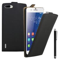 Huawei Honor 6 Plus (non compatible Honor 6X/ Honor 6): Accessoire Housse coque etui cuir fine slim + Stylet - NOIR