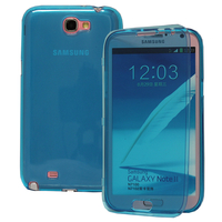Samsung Galaxy Note 2 N7100/ N7105: Accessoire Coque Etui Housse Pochette silicone gel Portefeuille Livre rabat - BLEU