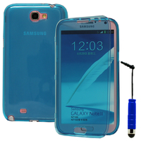 Samsung Galaxy Note 2 N7100/ N7105: Accessoire Coque Etui Housse Pochette silicone gel Portefeuille Livre rabat + mini Stylet - BLEU