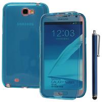 Samsung Galaxy Note 2 N7100/ N7105: Accessoire Coque Etui Housse Pochette silicone gel Portefeuille Livre rabat + Stylet - BLEU