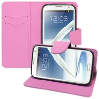 Samsung Galaxy Note 2 N7100/ N7105: Accessoire Etui portefeuille Livre Housse Coque Pochette support vidéo cuir PU effet tissu - VIOLET