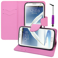 Samsung Galaxy Note 2 N7100/ N7105: Accessoire Etui portefeuille Livre Housse Coque Pochette support vidéo cuir PU effet tissu + mini Stylet - VIOLET
