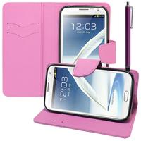 Samsung Galaxy Note 2 N7100/ N7105: Accessoire Etui portefeuille Livre Housse Coque Pochette support vidéo cuir PU effet tissu + Stylet - VIOLET