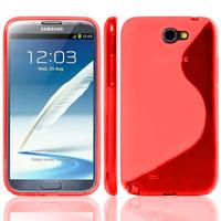 Samsung Galaxy Note 2 N7100/ N7105: Accessoire Housse Etui Pochette Coque S silicone gel - ROUGE