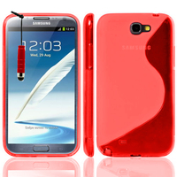 Samsung Galaxy Note 2 N7100/ N7105: Accessoire Housse Etui Pochette Coque S silicone gel + mini Stylet - ROUGE