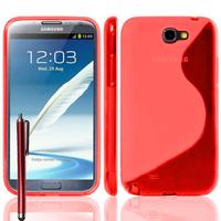 Samsung Galaxy Note 2 N7100/ N7105: Accessoire Housse Etui Pochette Coque S silicone gel + Stylet - ROUGE