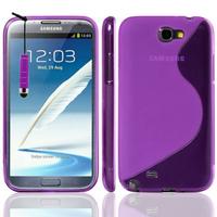 Samsung Galaxy Note 2 N7100/ N7105: Accessoire Housse Etui Pochette Coque S silicone gel + mini Stylet - VIOLET