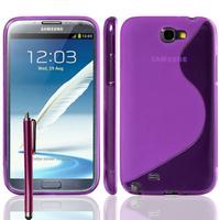 Samsung Galaxy Note 2 N7100/ N7105: Accessoire Housse Etui Pochette Coque S silicone gel + Stylet - VIOLET