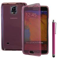Samsung Galaxy Note 4 SM-N910F/ Note 4 Duos (Dual SIM) N9100/ Note 4 (CDMA)/ N910C N910W8 N910V N910A N910T N910M: Accessoire Coque Etui Housse Pochette silicone gel Portefeuille Livre rabat + Stylet - ROSE