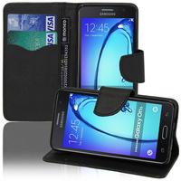 Samsung Galaxy On5: Accessoire Etui portefeuille Livre Housse Coque Pochette support vidéo cuir PU effet tissu - NOIR