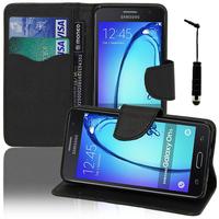 Samsung Galaxy On5: Accessoire Etui portefeuille Livre Housse Coque Pochette support vidéo cuir PU effet tissu + mini Stylet - NOIR