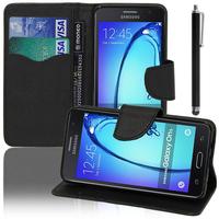 Samsung Galaxy On5: Accessoire Etui portefeuille Livre Housse Coque Pochette support vidéo cuir PU effet tissu + Stylet - NOIR