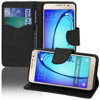 Samsung Galaxy On7: Accessoire Etui portefeuille Livre Housse Coque Pochette support vidéo cuir PU effet tissu - NOIR