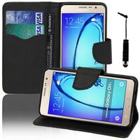 Samsung Galaxy On7: Accessoire Etui portefeuille Livre Housse Coque Pochette support vidéo cuir PU effet tissu + mini Stylet - NOIR