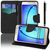 Samsung Galaxy On7: Accessoire Etui portefeuille Livre Housse Coque Pochette support vidéo cuir PU effet tissu + Stylet - NOIR