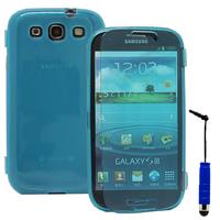 Samsung Galaxy S3 i9300/ i9305 Neo/ LTE 4G: Accessoire Coque Etui Housse Pochette silicone gel Portefeuille Livre rabat + mini Stylet - BLEU
