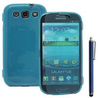 Samsung Galaxy S3 i9300/ i9305 Neo/ LTE 4G: Accessoire Coque Etui Housse Pochette silicone gel Portefeuille Livre rabat + Stylet - BLEU