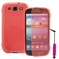 Samsung Galaxy S3 i9300/ i9305 Neo/ LTE 4G: Accessoire Coque Etui Housse Pochette silicone gel Portefeuille Livre rabat + mini Stylet - ROSE