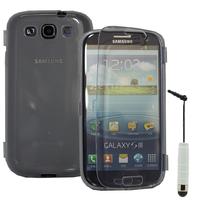 Samsung Galaxy S3 i9300/ i9305 Neo/ LTE 4G: Accessoire Coque Etui Housse Pochette silicone gel Portefeuille Livre rabat + mini Stylet - TRANSPARENT