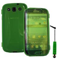 Samsung Galaxy S3 i9300/ i9305 Neo/ LTE 4G: Accessoire Coque Etui Housse Pochette silicone gel Portefeuille Livre rabat + mini Stylet - VERT