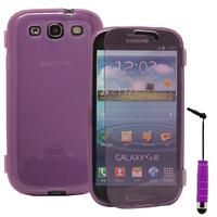 Samsung Galaxy S3 i9300/ i9305 Neo/ LTE 4G: Accessoire Coque Etui Housse Pochette silicone gel Portefeuille Livre rabat + mini Stylet - VIOLET