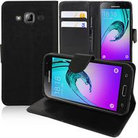 Samsung Galaxy J3 (2016) J320F/ J320P/ J3109/ J320M/ J320Y/ Duos: Accessoire Etui portefeuille Livre Housse Coque Pochette support vidéo cuir PU - NOIR