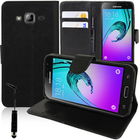 Samsung Galaxy J3 (2016) J320F/ J320P/ J3109/ J320M/ J320Y/ Duos: Accessoire Etui portefeuille Livre Housse Coque Pochette support vidéo cuir PU + mini Stylet - NOIR
