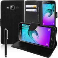 Samsung Galaxy J3 (2016) J320F/ J320P/ J3109/ J320M/ J320Y/ Duos: Accessoire Etui portefeuille Livre Housse Coque Pochette support vidéo cuir PU + Stylet - NOIR