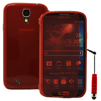 Samsung Galaxy S4 i9500/ i9505/ Value Edition I9515: Accessoire Coque Etui Housse Pochette silicone gel Portefeuille Livre rabat + mini Stylet - ROUGE