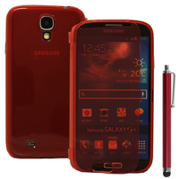 Samsung Galaxy S4 i9500/ i9505/ Value Edition I9515: Accessoire Coque Etui Housse Pochette silicone gel Portefeuille Livre rabat + Stylet - ROUGE