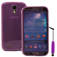 Samsung Galaxy S4 i9500/ i9505/ Value Edition I9515: Accessoire Coque Etui Housse Pochette silicone gel Portefeuille Livre rabat + mini Stylet - VIOLET