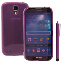 Samsung Galaxy S4 i9500/ i9505/ Value Edition I9515: Accessoire Coque Etui Housse Pochette silicone gel Portefeuille Livre rabat + Stylet - VIOLET