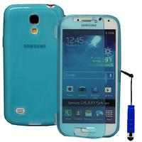 Samsung Galaxy S4 mini i9190/ S4 mini plus I9195I/ i9192/ i9195/ i9197: Accessoire Coque Etui Housse Pochette silicone gel Portefeuille Livre rabat + mini Stylet - BLEU