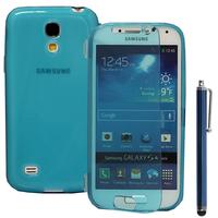 Samsung Galaxy S4 mini i9190/ S4 mini plus I9195I/ i9192/ i9195/ i9197: Accessoire Coque Etui Housse Pochette silicone gel Portefeuille Livre rabat + Stylet - BLEU