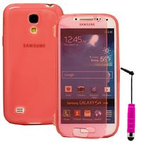 Samsung Galaxy S4 mini i9190/ S4 mini plus I9195I/ i9192/ i9195/ i9197: Accessoire Coque Etui Housse Pochette silicone gel Portefeuille Livre rabat + mini Stylet - ROSE