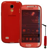 Samsung Galaxy S4 mini i9190/ S4 mini plus I9195I/ i9192/ i9195/ i9197: Accessoire Coque Etui Housse Pochette silicone gel Portefeuille Livre rabat + mini Stylet - ROUGE