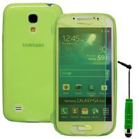 Samsung Galaxy S4 mini i9190/ S4 mini plus I9195I/ i9192/ i9195/ i9197: Accessoire Coque Etui Housse Pochette silicone gel Portefeuille Livre rabat + mini Stylet - VERT