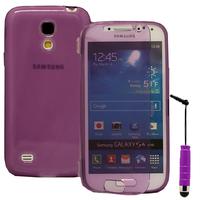 Samsung Galaxy S4 mini i9190/ S4 mini plus I9195I/ i9192/ i9195/ i9197: Accessoire Coque Etui Housse Pochette silicone gel Portefeuille Livre rabat + mini Stylet - VIOLET