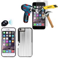 Apple iPhone 6/ 6s: Coque de protection avec Selfie Baton + 1 Film de protection d'écran Verre Trempé - NOIR
