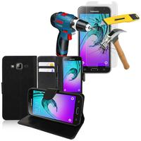 Samsung Galaxy J3 (2016) J320F/ J320P/ J3109/ J320M/ J320Y/ Duos: Etui Coque Housse Pochette Accessoires portefeuille support video cuir PU + 1 Film de protection d'écran Verre Trempé - NOIR