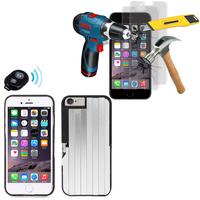 Apple iPhone 6/ 6s: Coque de protection avec Selfie Baton + 2 Films de protection d'écran Verre Trempé - NOIR