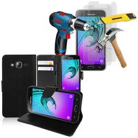 Samsung Galaxy J3 (2016) J320F/ J320P/ J3109/ J320M/ J320Y/ Duos: Etui Coque Housse Pochette Accessoires portefeuille support video cuir PU + 2 Films de protection d'écran Verre Trempé - NOIR