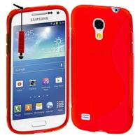 Samsung Galaxy S4 mini i9190/ S4 mini plus I9195I/ i9192/ i9195/ i9197: Accessoire Housse Etui Pochette Coque S silicone gel + mini Stylet - ROUGE