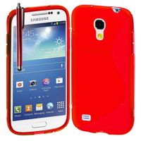 Samsung Galaxy S4 mini i9190/ S4 mini plus I9195I/ i9192/ i9195/ i9197: Accessoire Housse Etui Pochette Coque S silicone gel + Stylet - ROUGE