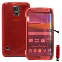 Samsung Galaxy S5 V G900F G900IKSMATW LTE G901F/ Duos / S5 Plus/ S5 Neo SM-G903F/ S5 LTE-A G906S: Accessoire Coque Etui Housse Pochette silicone gel Portefeuille Livre rabat + mini Stylet - ROUGE