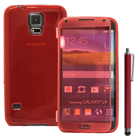 Samsung Galaxy S5 V G900F G900IKSMATW LTE G901F/ Duos / S5 Plus/ S5 Neo SM-G903F/ S5 LTE-A G906S: Accessoire Coque Etui Housse Pochette silicone gel Portefeuille Livre rabat + Stylet - ROUGE