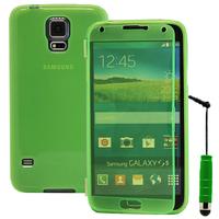 Samsung Galaxy S5 V G900F G900IKSMATW LTE G901F/ Duos / S5 Plus/ S5 Neo SM-G903F/ S5 LTE-A G906S: Accessoire Coque Etui Housse Pochette silicone gel Portefeuille Livre rabat + mini Stylet - VERT