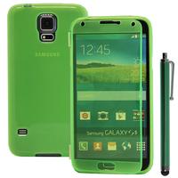 Samsung Galaxy S5 V G900F G900IKSMATW LTE G901F/ Duos / S5 Plus/ S5 Neo SM-G903F/ S5 LTE-A G906S: Accessoire Coque Etui Housse Pochette silicone gel Portefeuille Livre rabat + Stylet - VERT