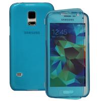 Samsung Galaxy S5 Mini G800F G800H / Duos: Accessoire Coque Etui Housse Pochette silicone gel Portefeuille Livre rabat - BLEU