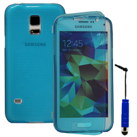 Samsung Galaxy S5 Mini G800F G800H / Duos: Accessoire Coque Etui Housse Pochette silicone gel Portefeuille Livre rabat + mini Stylet - BLEU